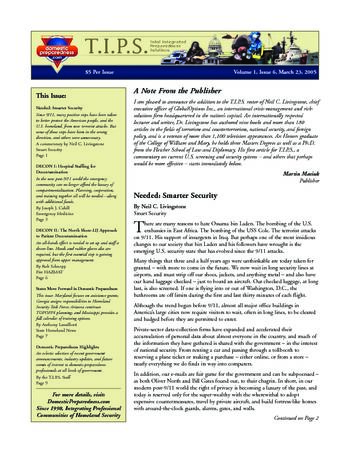 T.I.P.S. (Total Integrated Preparedness Solutions) Volume I, Issue 6 | DomPrep Journal