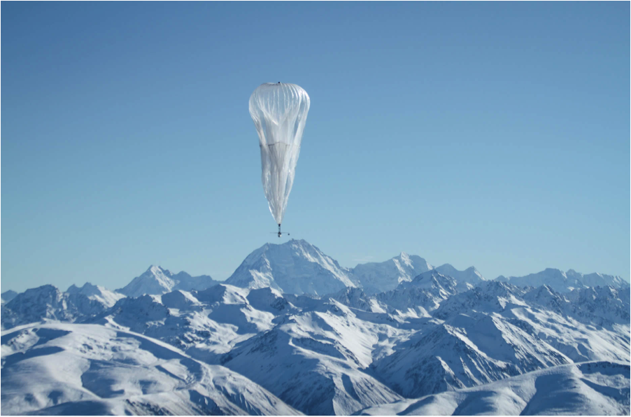 "A Google X ""Loon"" balloon (Source: Project Loon, 2013)."