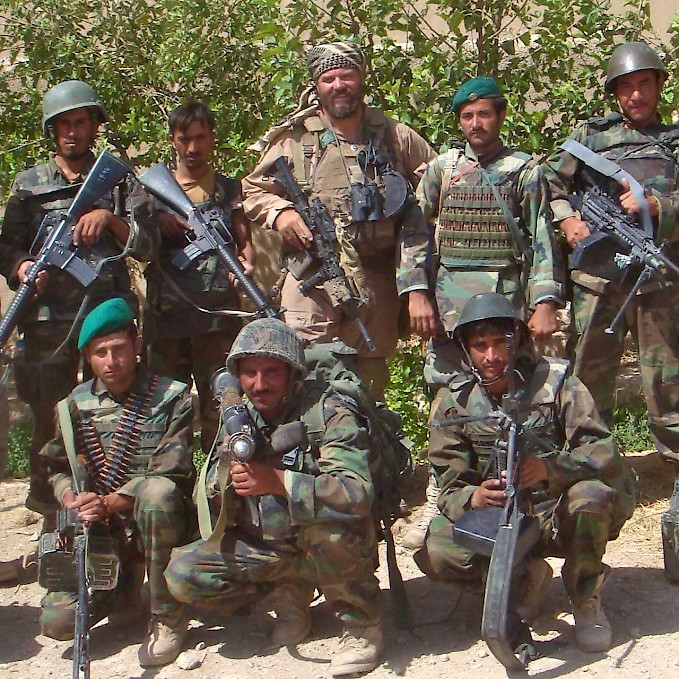 Roger Parrino with members of the Afghan Army in Nawzad, Afghanistan (Source: Roger Parrino, 2009).