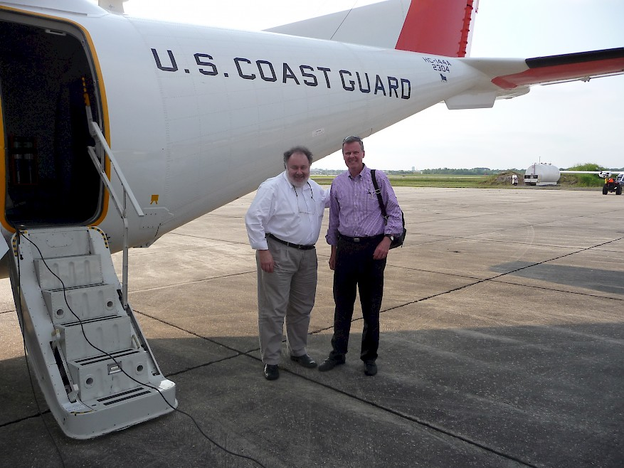 Fig. 1. Leonard Marcus and Eric McNulty getting ready to fly over the spill during their research on the Deepwater Horizon response (Source: NPLI, 2010).