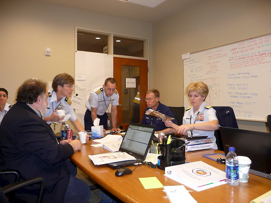 Fig. 2. A group meets during the Deepwater Horizon response, including Leonard Marcus on the left and RADM Mary Landry (an NPLI alum) on the far right. Landry was the Unified Area Commander during most of the response (Source: NPLI, 2010).