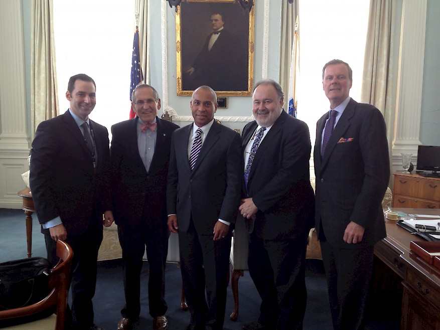 Fig. 3. Dr. Eric Goralnick, Dr. Barry Dorn, Gov. Deval Patrick, Leonard Marcus, and Eric McNulty at an interview regarding the Boston Marathon bombings (Source: NPLI, 2013).