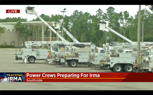 Screen Shot from News4Jax (September 8, 2017): Power crews publicly staging  before Hurricane Irma.