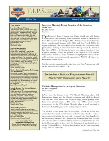 T.I.P.S. (Total Integrated Preparedness Solutions) Volume I, Issue 13 | DomPrep Journal