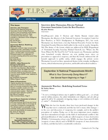 T.I.P.S. (Total Integrated Preparedness Solutions) Volume I, Issue 12 | DomPrep Journal