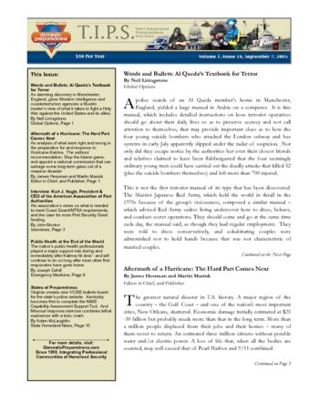 T.I.P.S. (Total Integrated Preparedness Solutions) Volume I, Issue 18 | DomPrep Journal